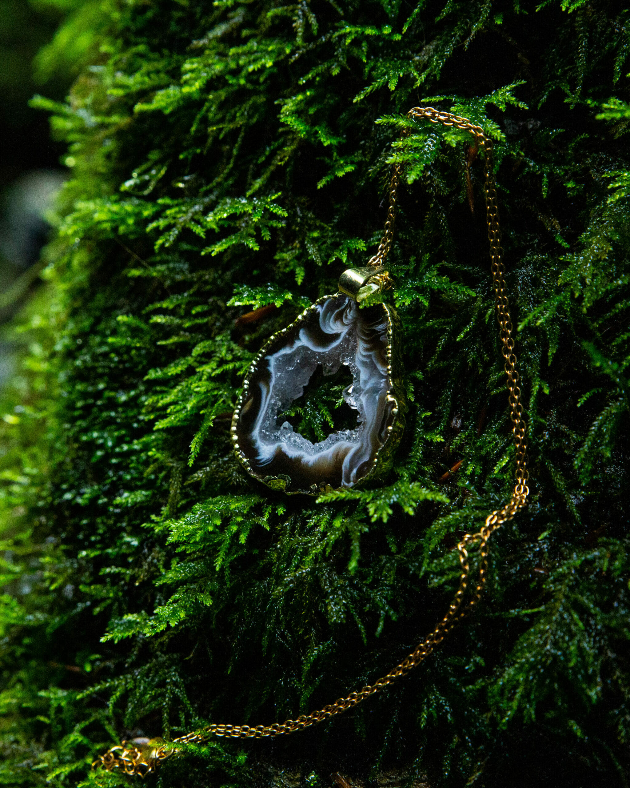 Agate Geode Pendant With Gold Embellishment